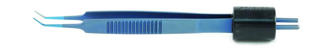 Blue Titanium Iris Angled Bipolar Forceps